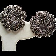 Judith Jack Sterling Marcasite Large Flower Pierced French Clip Earrings