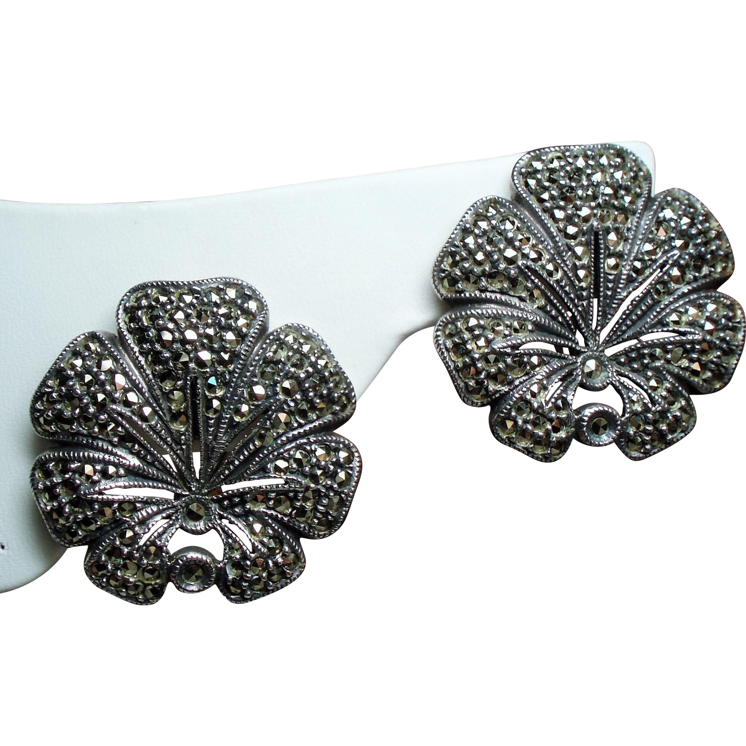 Vintage Estate Judith Jack Sterling Marcasite Large Flower Pierced French Clip Earrings