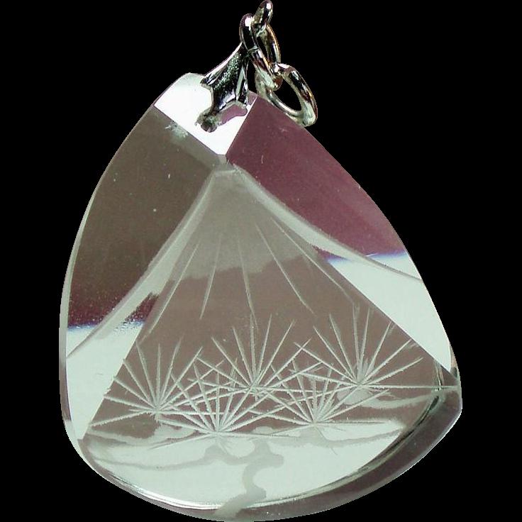 Vintage Japanese Carved Mountain Scene Rock Crystal Pendant