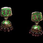 Estate Indian Jhumka Enamel Garnet Glass Bead Chandelier Earrings
