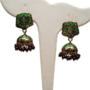 Estate Indian Jhumka Enamel Garnet Glass Bead Chandelier Earrings