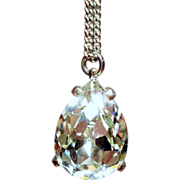 Vintage Jomaz Large Pear Rhinestone Solitaire Pendant Necklace