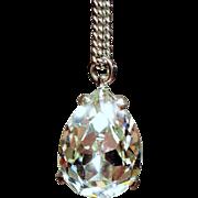 Vintage Jomaz Large Pear Rhinestone Solitaire Pendant Necklace
