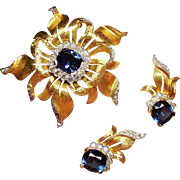 Vintage Jomaz Cushion Cut Faux Sapphire Diamante Brooch Earrings Demi Parure.