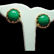 Vintage Jonne Jade Green Glass Cabochon Earrings