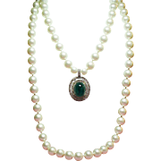 "Vintage KJL Kenneth J Lane for Marvella ""Dinner at Eight"" Simulated Pearl Faux Flawed Emerald Cabochon Necklace."