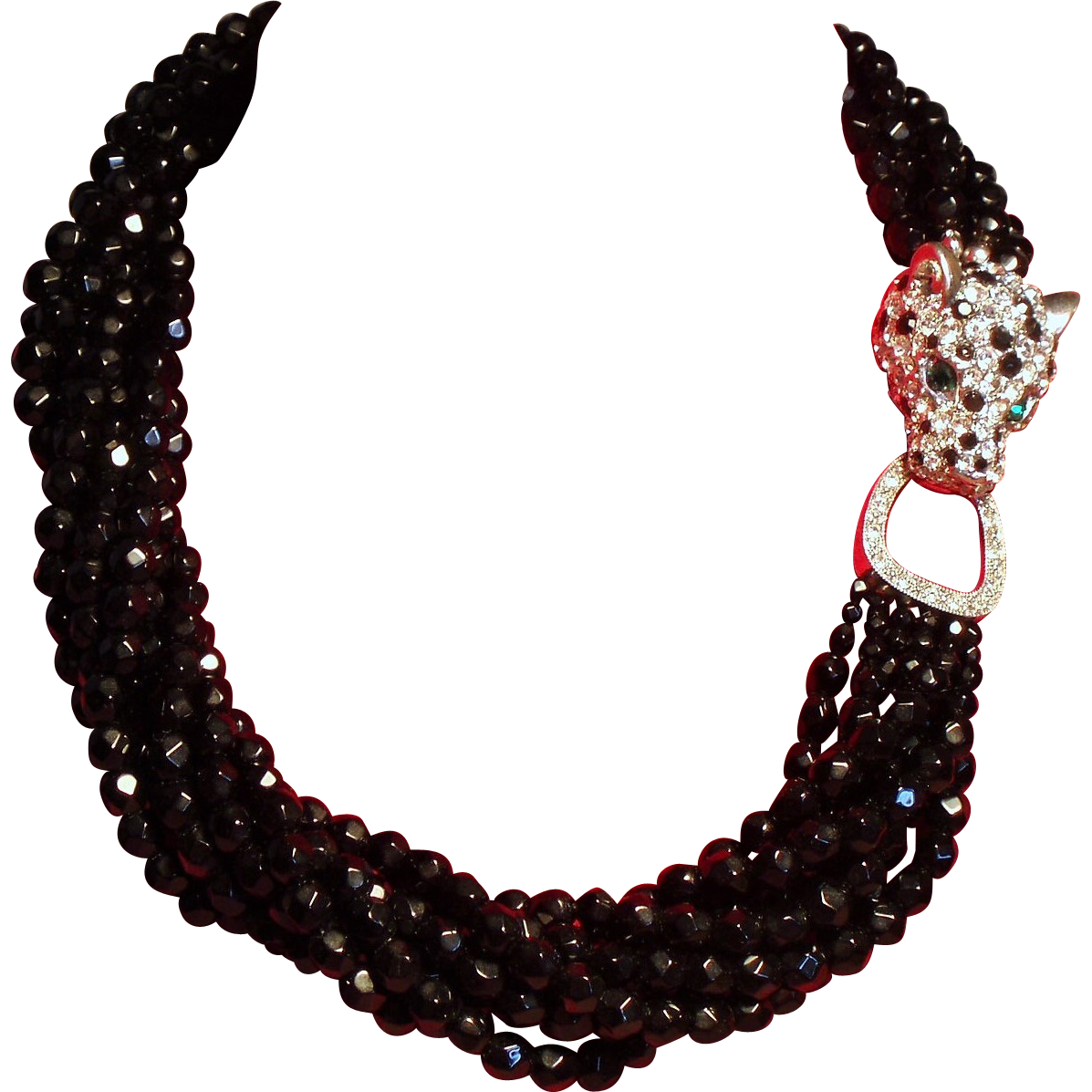 Vintage K.J.L. Kenneth J Lane Black Faceted Glass Bead Torsade Necklace Rhinestone Leopard Head Clasp