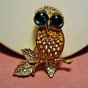 Vintage K.J.L. Kenneth J Lane Rhinestone Owl Brooch Cabochon Glass Eyes