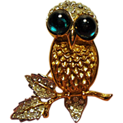 Vintage K.J.L. Kenneth J Lane Rhinestone Owl Brooch Cabochon Glass Eyes