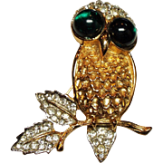 Vintage K.J.L. Kenneth J Lane Rhinestone Owl Brooch Green Glass Cabochon Eyes