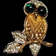 Vintage K.J.L. Kenneth J Lane Rhinestone Owl Brooch Green Glass Cabochon Eyes