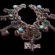 Vintage Faux Jeweled Keys Charm Bracelet