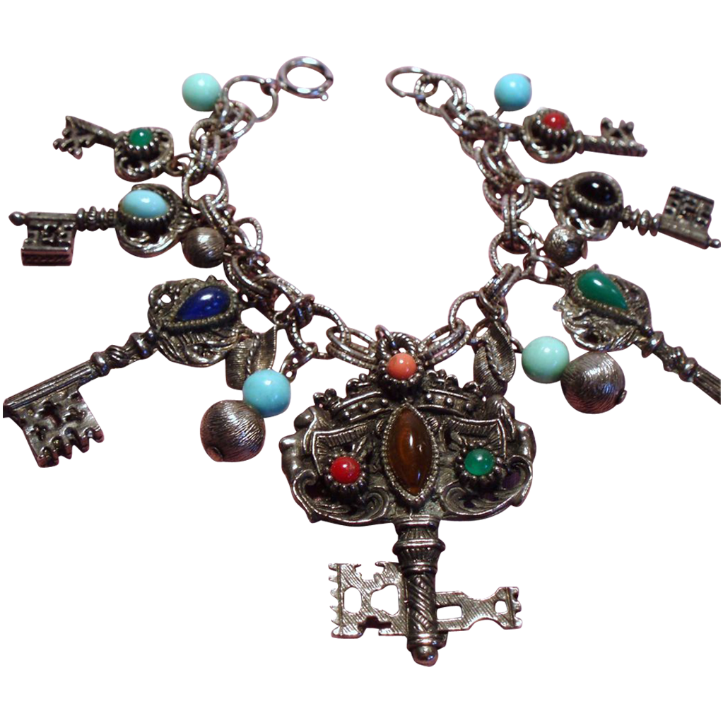 Vintage Faux Jeweled Keys Charm Bracelet