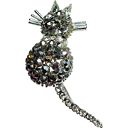 Vintage Rhinestone Kitty Cat Trembler Brooch