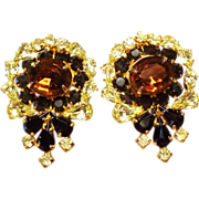 Vintage Kramer Canary Yellow & Topaz Rhinestone Earrings