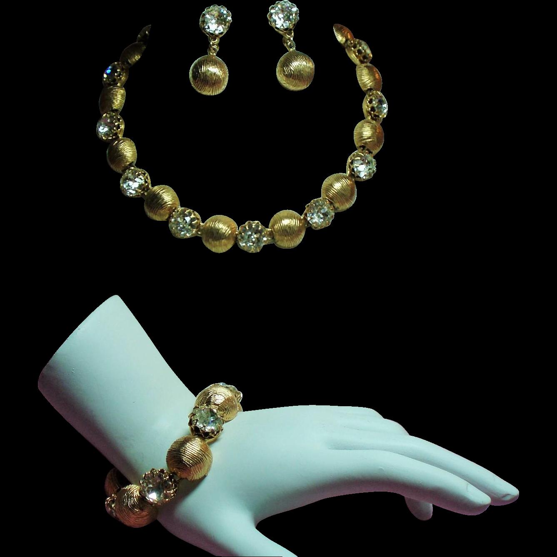 Vintage Kramer Large Crystal Rhinestones Necklace Bracelet Drop Earrings Parure