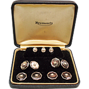 Vintage Art Deco Krementz Mother of Pearl Cultured Seed Pearl Complete Tuxedo Set