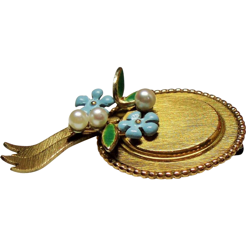 Vintage Krementz Hat Enamel Cultured Pearls Pin