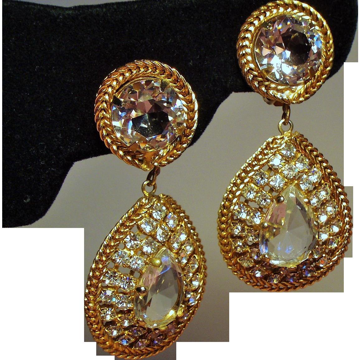 Vintage K.J.L. Kenneth J Lane Faceted Open Back Stone Huge Drop Earrings