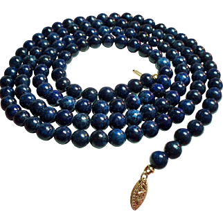 Vintage Lapis Bead Long Opera Length Necklace 14K Filigree Clasp