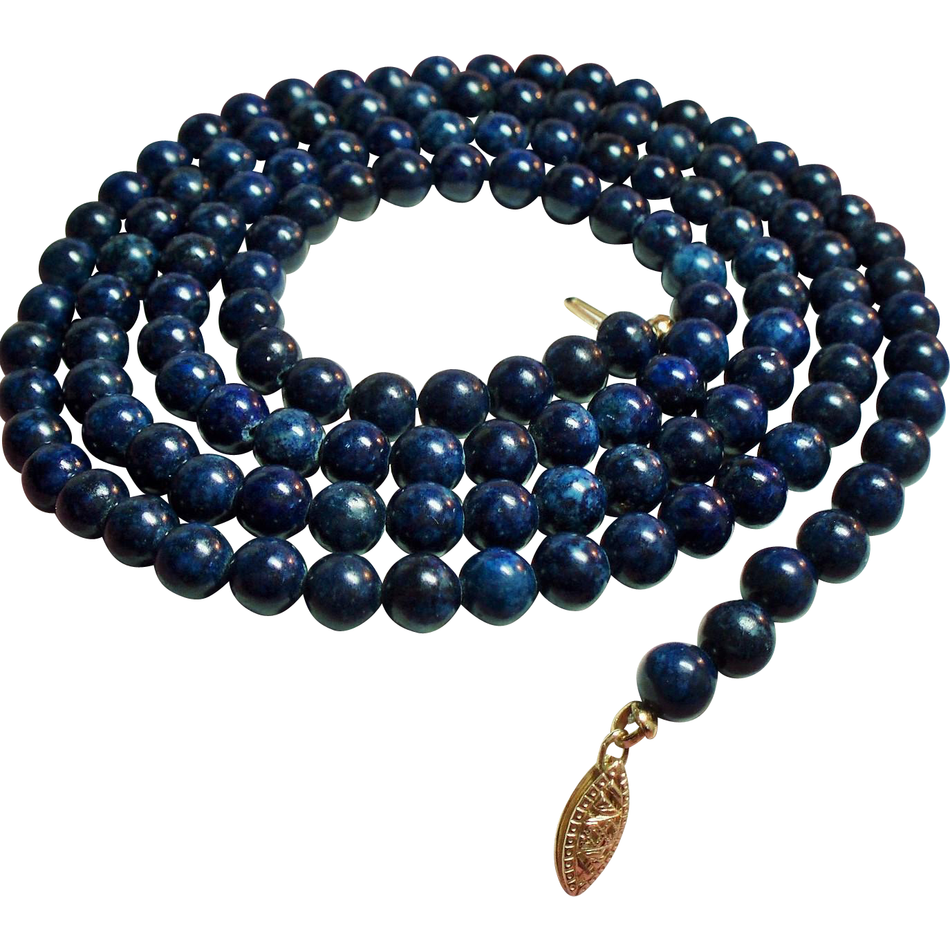 Vintage Lapis Bead Long Opera Length Necklace 14K Filigree Clasp