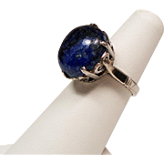 Vintage Large Lapis Cabochon Stone Sterling Ring