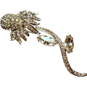 Vintage Ledo Rhinestone Long Stem Flower Brooch
