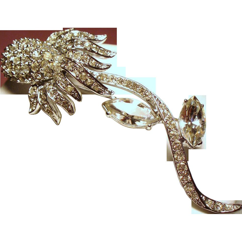 Vintage Ledo Rhinestone Long Stem Flower Brooch