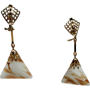 Vintage Lewis Segal White Copper Murano Glass Long Drop Earrings