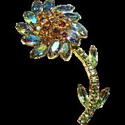 Vintage Iridescent Rhinestone Large Dimensional Flower Brooch