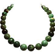 Vintage Large Jasper Bead Princess Length Necklace 14K Clasp