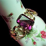 Vintage Retro Modern Large Amethyst Glass Stone Tank Bracelet