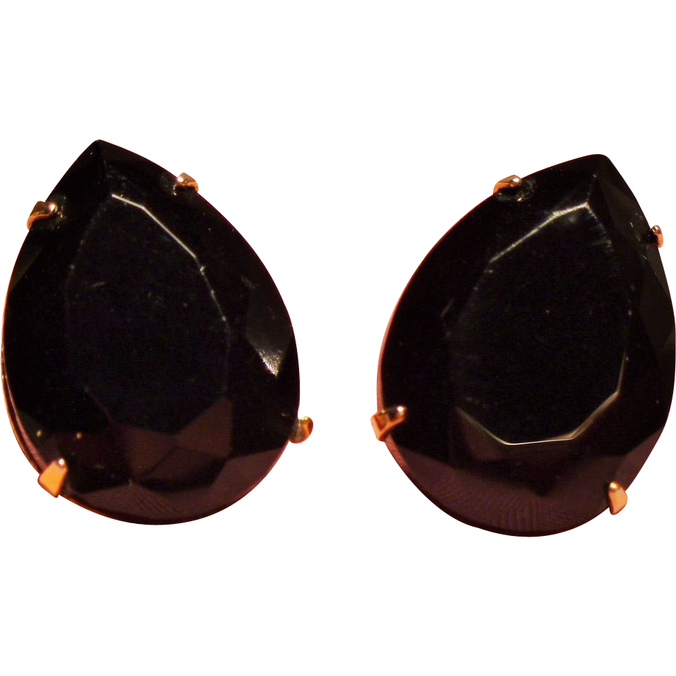 Vintage Large Faceted Black Pear Open Back Stone Solitaire Earrings