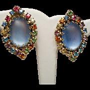 Vintage Huge Moonglow & Multiple Colored Rhinestone Earrings