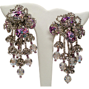 Vintage Lois Ann Lilac Rivoli Faceted Crystals Rhinestones Drippy Earrings