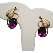 Vintage Loren Sim Co Faceted Amethyst Glass Gold Filled Earrings