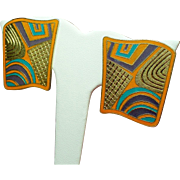 "Vintage Laurel Burch ""Tivo"" Large Enamel Earrings"