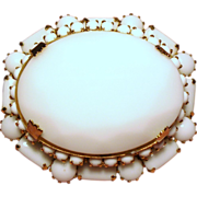 Vintage Large Faceted Milk Glass Tiered Brooch Hook and Eye Construction