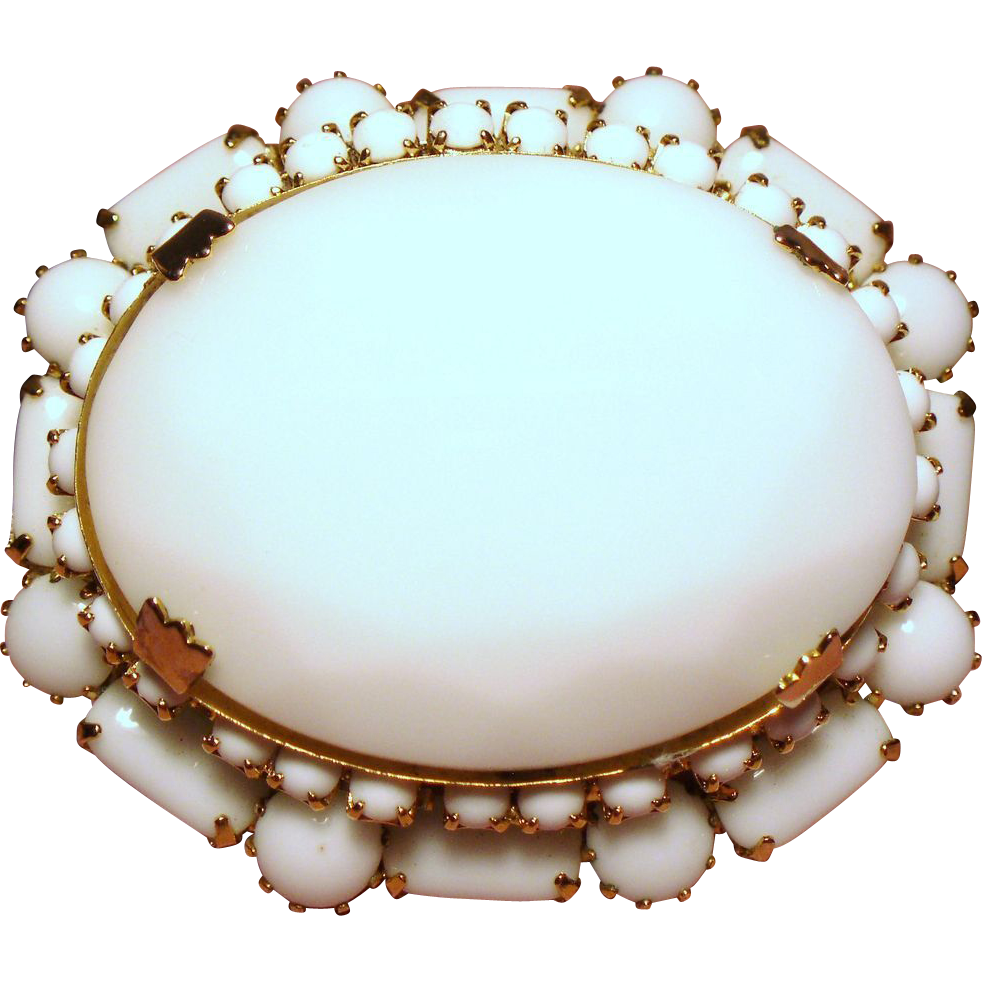 Vintage Large Faceted Milk Glass Tiered Brooch Hook And