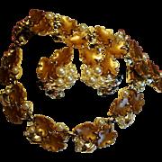 Vintage Carmel Lucite Leaves Faux Pearls Parure