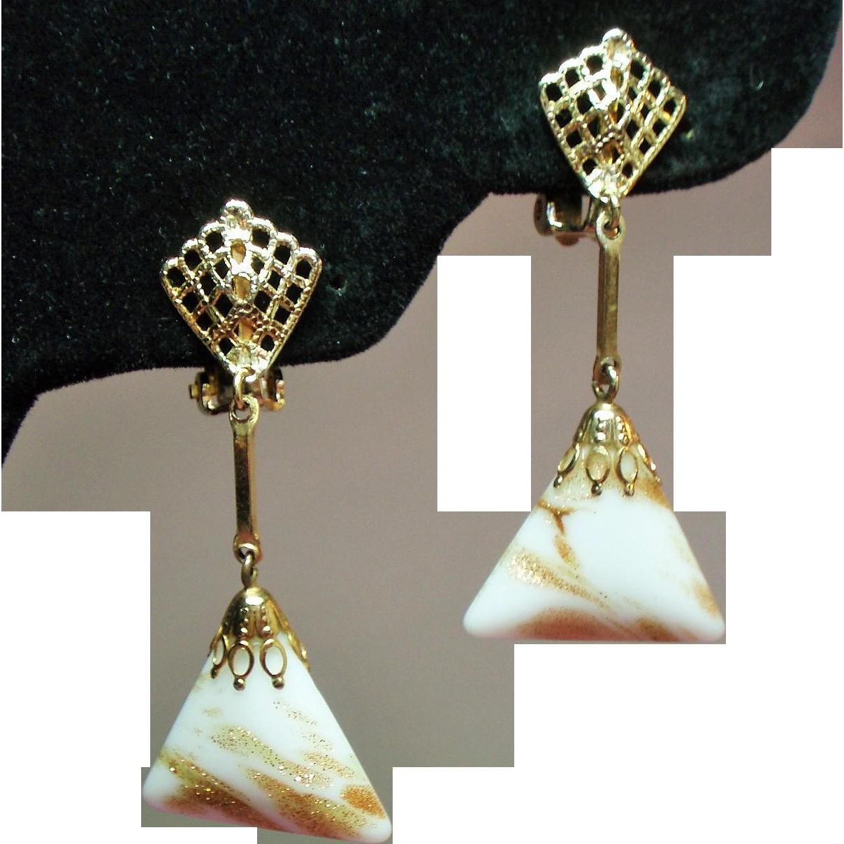 Vintage Lewis Segal California Murano Venetian Glass Drop Earrings
