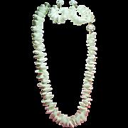 Vintage Miriam Haskell White Sea Shell Necklace Large Drop Hoop Earrings Demi Parure