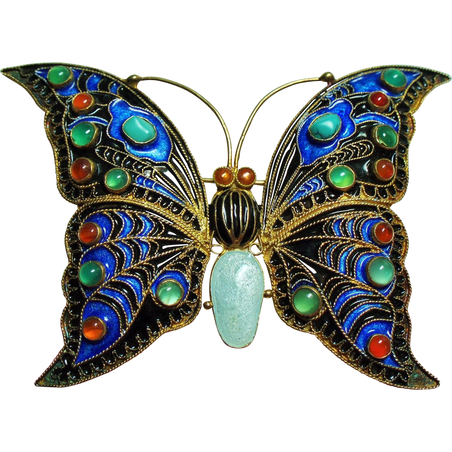 Vintage Metropolitan Museum of Art Enamel Large Butterfly Brooch Natural Stones