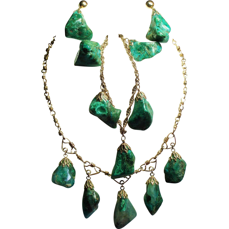Vintage Natural Malachite Chrysocolla Nugget Gold Filled Choker Necklace Bracelet Drop Earrings Parure