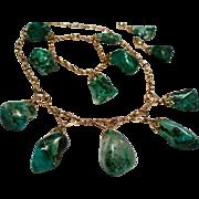 Vintage Natural Malachite / Chrysocolla Nugget Gold Filled Choker Necklace Bracelet Drop Earrings Parure