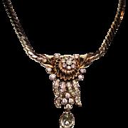 Vintage Mazer Pear Rhinestone Drop Pendant Necklace