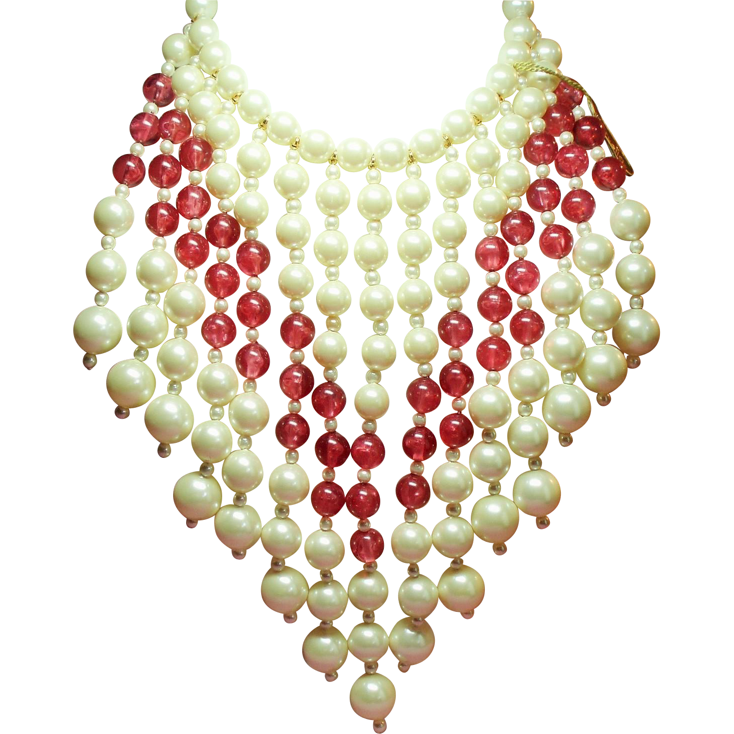 Vintage Marvella Faux Pearl Cranberry Pink Drippy Bead Massive Bib Necklace