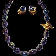 Vintage Marvella Iridescent Bead Necklace Earrings Demi Parure