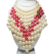 Vintage Marvella Faux Pearl Cranberry Pink Drippy Bead Bib Necklace