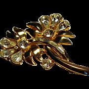 Vintage Mazer Rhinestone Double Flower Brooch